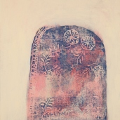 Erään liinan kukkakuvio 4, 2012 pressprint ja öljy pahville