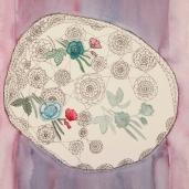 Kukkakoristeinen liina, 2014 tussi ja akvarelli