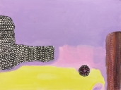 Pieni pyöreä pitsiliina, akryyli vanerille, 2018, 30x40