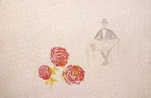 Fernando Pessoan ruusut, 2016, pressprint ja puuvärit pahville, 48x55